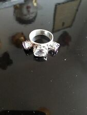 925 STERLING SILVER TIGGA RING WITH CLEAR QUARTZ AND AMETHYST