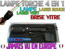 LAMPE TORCHE 4 EN 1 • 2500 LUMENS 1000W LED FLASHLIGHT LASER ROUGE & VERT