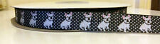 "1 yard 16mm (5/8"")wide BLACK/WHITE POLKA DOT FRENCH BULLDOG GROSGRAIN RIBBON"