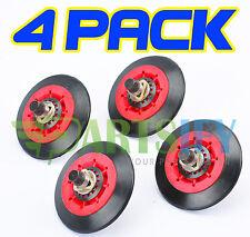 4 PACK NEW! 4581EL3001E DRYER DRUM ROLLER WHEEL & SHAFT KIT FOR LG KENMORE SEARS