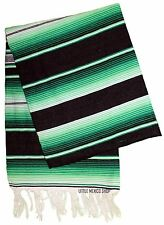 HOT ROD GREEN SERAPE Mexican Blanket SOUTHWESTERN 5' x 7' Falsa Serape Throw