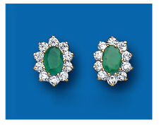9K Yellow Gold Real Emerald Oval Cluster Stud Earrings - British Made Hallmarked