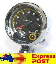 "Carbon Fibre Face 3 3/4"" 3.75 Inch Tacho with Shift Light - RPM Rev Gauge Meter"