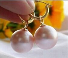 HOT Huge Perfect Round AAAA+ 16mm Pink South Sea Shell Pearl 14K Gold Earrings