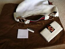 GUCCI Vintage Tom Ford Cruise Collection/matching Wallet Wht leather, B/red
