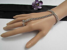 NEW WOMEN SILVER FASHION CHUNKY THICK HAND CHAINS WRIST BRACELET TO SLAVE RING
