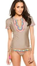 NWT  $152 Trina Turk Wanderlust Sz Large Rashguard Top W/ Sz 10 Side-Tie Bottom