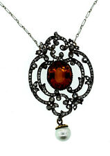 C.1870 RUSSIAN SILVER 14K YELLOW GOLD CITRINE PEARL ROSECUT DIAMOND NECKLACE
