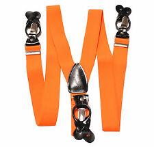 New in box Men's Orange Suspender Braces elastic clips buttons wedding prom