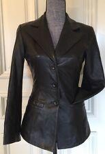 Bebe Women's Black  100% Genuine Leather Blazer  Size X Small