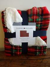 TOMMY HILFIGER ROYAL STEWART PLAID Red Navy Green PLUSH SHERPA THROW BLANKET