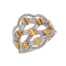 WIDE 14K TWO TONE GOLD PAVE ROUND DIAMOND RIGHT HAND NAIL SCREW  COCKTAIL RING