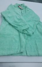 NWT NDK Wave -Chenille Caftan Zip Up 100% cotton Mint green robe Knee length