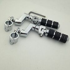 "Chrome Foot Pegs 1"" Clamps For Honda GoldWing GL1800 Shadow Steed400 Valkyrie"