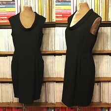 LOFT Ann Taylor dress UK 10 / US 6 black crepe fitted sheath sleeveless pencil
