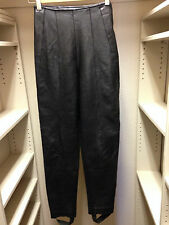 Genuine Leather High Waist Ankle Strap Legging Black Pants 22in. Waist