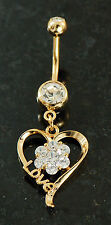 1 Pc 14K Gold Plated Flower Prong Set C.Z.& Love Sign Dangling Belly Ring 14g
