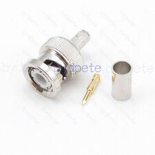 BNC male plug connector Crimp for RF RG58 RG142 LMR195 RG400 RG223 Coaxial Cable
