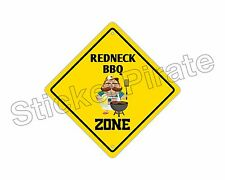 "*Aluminum* Redneck Bbq Zone Funny Metal Novelty Sign 12""x12"""