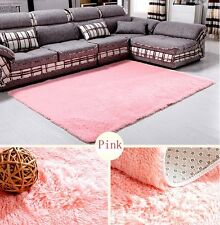 Solid Small Large Size Fluffy Anti-skid Shaggy Area Rug Carpet Mat Bedroom Rugs