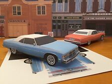 Paper Craft Pontiac Grandville light blue Paper Car EZU-build 1975 Toy Model Car