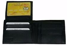 Men's Genuine Leather Bifold Wallet Black With Coin Pocket And Currency Zipper