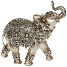 GIANT SILVER ELEPHANT WITH TWO BUDDHA ORNATE DECORATIVE ORNAMENT
