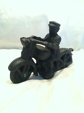 "Collectible Vintage Cast Iron HARLEY DAVIDSON 6.5"" Motorcycle With Police Driver"