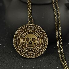 Pirates of the Caribbean Aztec coin Medallion bronze Skull Charm Necklace
