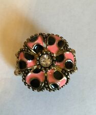 NEW PINK & BLACK POLKA DOT FLOWER, GOLD Stretchable STATEMENT COCKTAIL RING