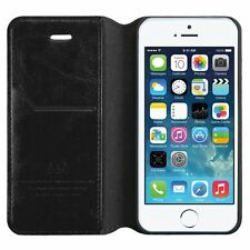 BLACK Leather Wallet Card Holder Case Cover Folio Flip Pouch for Apple iPhone SE
