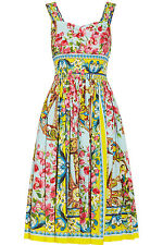 Dolce & Gabbana Printed Cotton-Poplin Multi-color Floral Dress IT 48 U.S 12 NWOT