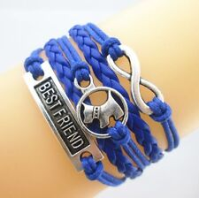Blue Infinity Bracelet Unisex with Dog and Best Friend