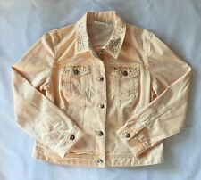 EUC Women's Chico's Platinum Peach Studded Denim Jean Jacket-Sz 8 (Chico's Sz 1)