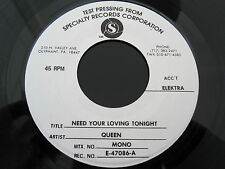 "QUEEN  :  Need Your Loving Tonight - MONO / STEREO TEST PRESSING 7"" Vinyl Single"