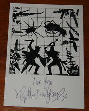 GILBERT & AND GEORGE ~ DEATHO KNOCKO ~ HAND SIGNED LARGE ART POSTCARD 8x6 INCHES