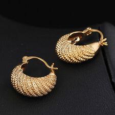 24K Yellow Gold Filled Womens Mens Jewelry Piercing Cool Rock Hoop Punk Earrings