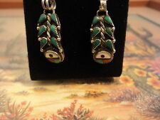 .925 SILVER, HANDMADE SOUTHWEST NATIVE CORN ROW MALACHITE, MOP, CORAL EARRINGS