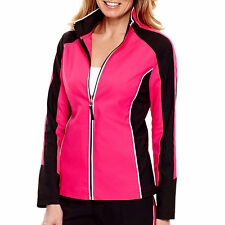 Size M or L colorblock Athletic jacket Dark Pink and Black Lightweight A4