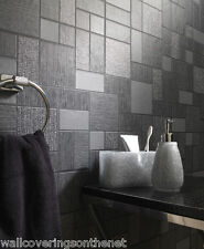 Black & Grey with Silver Glitter, Tiling on a Roll, Kitchen / Bathroom Wallpaper