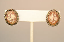 VINTAGE 800 SILVER HAND CARVED SHELL FLOWER CAMEO MARCASITE SCREW BACK EARRINGS