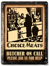 BUTCHER ON CALL METAL meat beef vintage style restaurant deli diner wall art 044