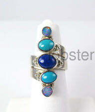 BEAUTIFUL SAJEN .925 STERLING SILVER RING AUTHENTIC LAPIS TURQUOISE OPAL Size 6