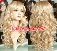 New Lady Womens Fashion Sexy Long wavy curly Blonde Party Hair Wig - Full Wig