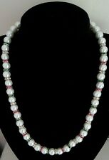 HANDMADE WHITE GLASS PEARL BEADED NECKLACE WITH RHINESTONE SPACER BEADS.