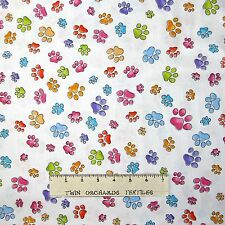 Loralie Designs Fabric - Pawful White Rainbow Tossed Paw Prints - Cotton YARD