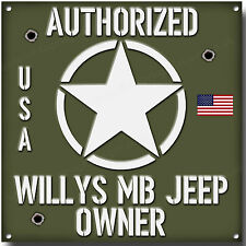 WILLYS MB JEEP,AUTORISIERTER JEEP INHABER METALL SCHILD VINTAGE USA