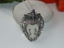 925 Sterling Silver Purple Opal Gemstone white carved face Pendant Free P&P