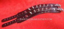 Black Leather Small Spike Studded bracelet wristband wrist cuff band Steam punk