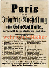 GRAND ORIGINAL AFFICHE suite exposition sur 1. de paris exposition universelle de 1855.